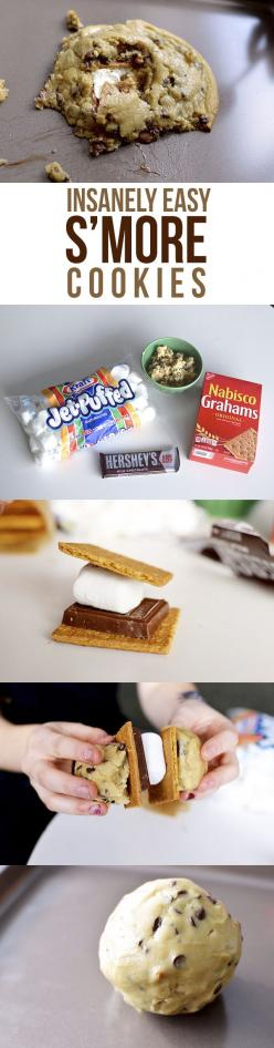 Smore Cookie: Marshmallow Recipes, Easy Recipe, Chocolate Desserts, Bars Squares Cookies Cupcakes, Smore Cookie