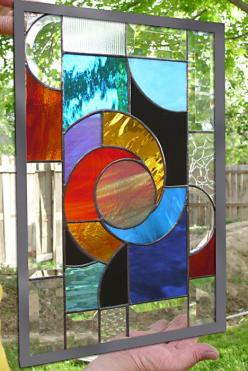 Stained Glass  Window Panel Hot Solar Swirl by stainedglassfusion: Stainedglass, Stainglass, Glass, Smokey Mountain, Abstract Window, Abstract Stained Glass, Stained Glass