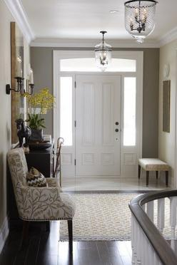 Swoon. Love the paint color, the flooring, the light fixtures, the white woodwork....so beautiful!: Interior, Idea, Front Door, Wall Color, Light Fixture, Entryway