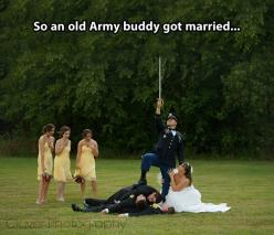 that's shaping up to be an awesome wedding photo.: Photo Ideas, Wedding Ideas, Army Buddy, Wedding Photos, Military Weddings, Funny Stuff, Funny Wedding, Wedding Pictures