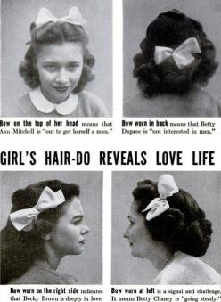 "The following images appeared in the March 15, 1944 issue of Life as part of a piece entitled ""High School Fads."": Girls, Hair Do Reveals, Vintage, Hairs, Bows, Love Life"