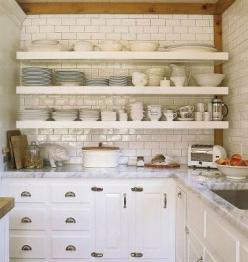 These shelves feel like a combination of a china hutch and traditional kitchen cabinets: Marble, Open Shelves, Openshelves, House, White Subway Tiles, Kitchen Ideas, Open Shelving, White Kitchens