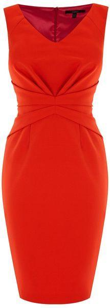This is gorgeous! I'd wear this with a fitted jacket for a board meeting and then remove the jacket for dinner that evening.: Orange Cinched, Classy Red Dress, Red Dresses, Cinched Waisted, England Cinched, Waisted Dress, Orange Dress, Sexy Classy Dre