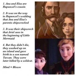 This is meant to be fun. Don't take it too seriously. Someone did mention that Rapunzel is at Elsa's coronation if you look closely.: Mind Blown, Mindblown, Stuff, Movies, Funny, Disney Pixar, Random, Frozen