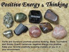 Top Recommended Crystals: Pyrite, Black Tourmaline, Hematite, Smoky Quartz, or Sunstone Additional Crystal Recommendations: Sugilite or Citrine. Pyrite and Sunstone promote positive thinking. Black Tourmaline and Smoky Quartz transmute negative energy int