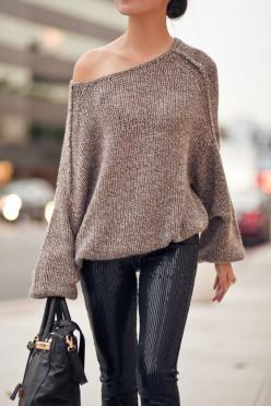 Top :: 'Sunday Sweater' thanks to SOYER!  Bottom :: BB Dakota  Accessories :: YSL 'Arty' ring  Shoes :: Christian Louboutin 'Decollete'  Bag :: Marco Tagliaferri via HGBags: Sweaters, Fashion, Street Style, Outfit, Slouchy Sweater, Fall Winter, Sequin Pan