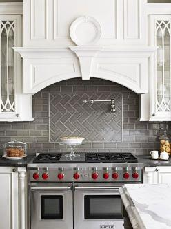 Try a herringbone pattern with your subway tile! More backsplash designs here: http://www.bhg.com/kitchen/backsplash/subway-tile-backsplash/?socsrc=bhgpin072014herringbonepattern&page=5: Vent Hood, Kitchen Backsplash, Oven Hood, Herringbone Pattern, T