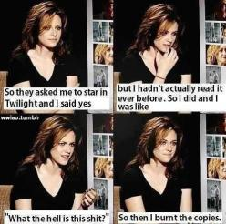 Turns out that Robert Pattinson isn't the only one who hates Twilight (sorry for the language): Awesome, Kristen Stewart, Twilight, Book, Movie, Funny Stuff, Funnies, Actor