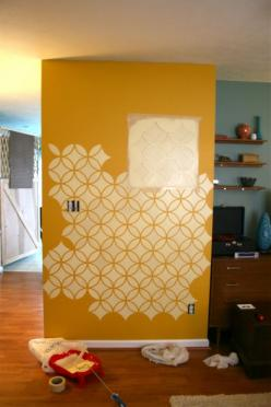 wall stencil: Feature Wall, Stencil Idea, Diy'S, Wall Stencil, Diy Wall, Stencil Instructions, Things, Kitchen, Craft Ideas