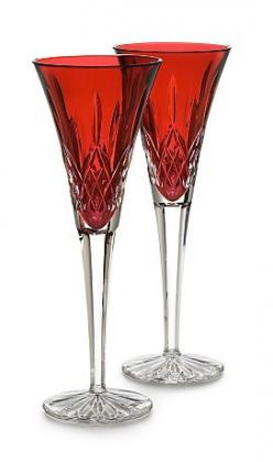 "Waterford Crystal ""Lismore"" Crimson Champagne Flutes: Crimson Flute, Waterford Lismore, Wedding, Toasting Flutes, Waterford Crystal, Lismore Crimson, Crystal Lismore, Champagne Flutes"