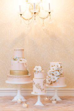 "Wedding Cakes - ""plural""! See the feature for more wedding inspiration: http://www.stylemepretty.com/new-york-weddings/new-york-city/manhattan/2013/12/27/3-west-club-engagement-party-inspiration/ Style Me Pretty 