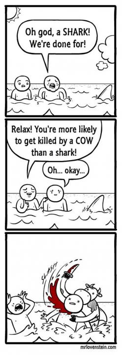 Well... that was a plot twist.: Comic, Random, Funny Stuff, Humor, Funnies, Sharks, Cows