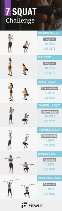 While a 30 day squat challenge is a great way to challenge yourself, you shouldn't do the same squat exercise everyday. Doing different squats target your glutes from multiple angles and shape the perfect butt. Get this squat challenge and get started