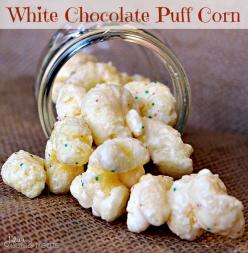White Chocolate Puff Corn ~ Melt in your mouth puff corn covered in white chocolate! Perfectly sweet and salty!: Puff Corn, Chocolates, Puffcorn, White Chocolate, Julie S Eats, Mouth Puff, Corn Coated, Perfect Sweet