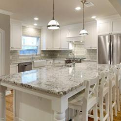 white granite countertops and glass subway tile backsplash -- BUT with dark grey cabinets...: Kitchens, White Kitchen, Counter Top, White Granite, Tile Backsplash, Subway Tiles, Granite Countertops, Antique White
