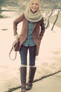 Winter fashion, and she kinda looks like she's being strangled by her scarf. but you know, at least she still looks cute, right?: Winterfashion, Winter Style, Black Boots, Winter Outfits, Winter Fashion, Winter Fall, White Top, Fall Winter