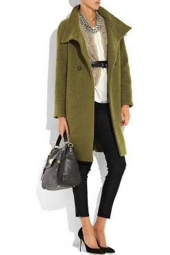 would be willing to blow my entire fall clothing budget on this one outfit!: Work, Fashion, Style, Clothes, Outfit, Casual Business Attire, Closet, Coats, Olive Coat