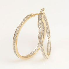 14K Yellow Gold Diamond Hoop Earrings #finejewelry #diamonds