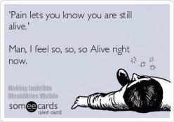 """""""Pain lets you know you are still alive. Man, I feel so, so, so alive right now."""" #Fitness #Humour #Meme: Fibromyalgia Meme, Fitness Humor Quote, Crohns Meme, Chronic Illness, Funny Fitness Meme, Chronic Pain Meme, Gym Humor Meme, Funny Workout Me"""
