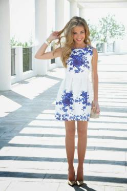 a perfect blue and white dress: Summer Dresses, Fashion, Style, Outfit, Spring Summer, White Dress, Blue And White
