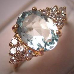 A Stunning Vintage Aquamarine and Diamond Ring, Estate Art Deco Style in 14K Gold: Vintage Ring, Engagementring, Diamond Rings, Jewel, Dream, Wedding Rings, Engagement Rings