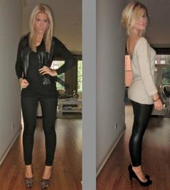 Already pinned the outfit on the right, but the left is super cute- looks like leopard wedges, black skinnies, blank tank and a leather jacket.: Going Out, Outfit Ideas, Blank Tank, Style, Fall Outfits, Leopard Wedges, Leather Jackets