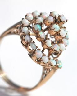 Antique 10k Yellow Rose Gold 30 Genuine Opal Swirl Cocktail Dome Ring – Yourgreatfinds: Yellow Roses, Swirl Cocktail, 10K Yellow, Rose Gold