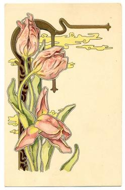 art nouveau flowers: Art Nouveau Tattoo Flower, Art Deco Flowers, Art Nouveau Illustration, Art Nouveau Tulip, Art Nouveau Flowers, Tulip Flower, Flower Litho, Art Nouveau Flower Tattoo