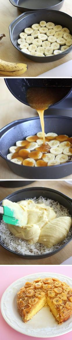 Banana Coconut Upside Down Cake: Amber's review - made 7/3/15 - when I think of An upside down cake I am immediately intimidated but this could not have been any easier to make. Definitely use parchment paper on the bottom and spray it with PAM. I let