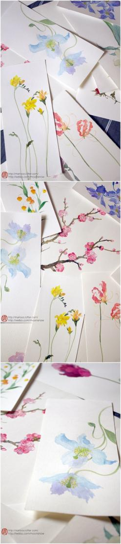 beautiful watercolor painting by 鹿菏 Could bring in some books/ magazines to use as inspiration?: Watercolor Painting, Calligraphy Card, Simple Watercolor, Easter Card, Watercolor Card, Watercolor Greeting Card, Watercolor Flower, Watercolour Card