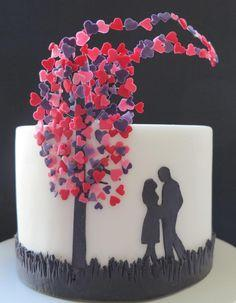 Black White LOVE Cake - Wouldn't this be pretty in pink, ivory, or aqua?: Black Wedding Cake, Beautiful Wedding Cake, Amazing Cake, Beautiful Cake, Wedding Cakes, Black And White Cake, Engagement Cake, Black And White Wedding Cake