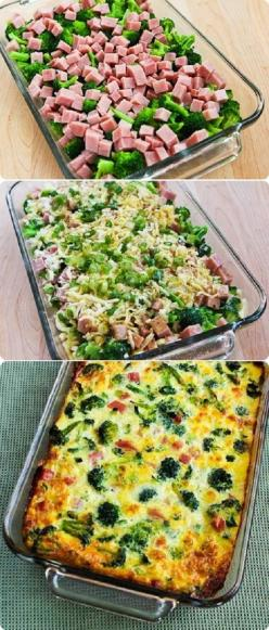 Broccoli, Ham, and Mozzarella Baked with Eggs 4-6 cups very small broccoli flowerets, blanched about 2 minutes, then drained well. 1-2 cups diced ham (1/2 - 1 lb.) 1 cup grated Mozzarella 1/3 cup thinly sliced green onion (optional, but good) 8-10 eggs, w