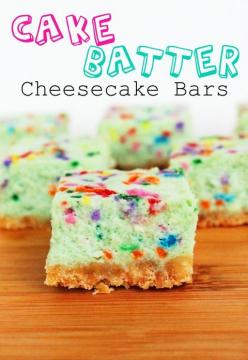 Cakebatter cheesecake bars...you can use food coloring to make it different. Pink would be cute for Easter!: Cakebattercheesecake, Cheese Cake, Recipe, Cheesecake Bars, Cake Batter Cheesecake, Cakes, Food, Sweet Tooth