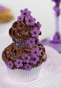 Couture #Cupcakes: Cup Cakes, Ideas, Chocolate Cupcakes, Sweet, Flower Cupcake, Food, Dessert, Purple Flower