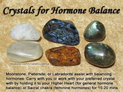 Crystals for Hormone Balance — Moonstone, Pietersite, or Labradorite assist with balancing hormones. Carry with you or work with your preferred crystal by holding it to you Higher Heart (for general hormone balance) or Sacral chakra (feminine hormones) fo
