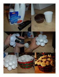 Cupcake Bouquets using cups stapled together... better than toothpicks.: Christmas Cupcake Bouquet, Cupcake Bouquets, Cupcakes, Cups Stapled, Food, Diy, Party Ideas