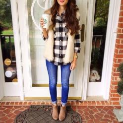 Cute: Outfit Ideas, Fall Style, Gingham Shirt, Fur Vests, Fall Fashion, Fall Outfit, Fall Winter, Outfits With Fur Vest, White Fur Vest Outfit