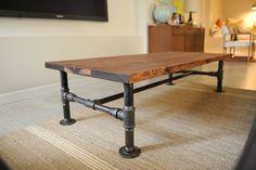 DIY industrial coffee table, total cost for blogger: $150, wondering if I could do it for less...: Rustic Coffee Table, Ideas, Plumbing Pipe, Diy Industrial, Pipe Coffee, Pipes, Diy Projects, Industrial Coffee Tables