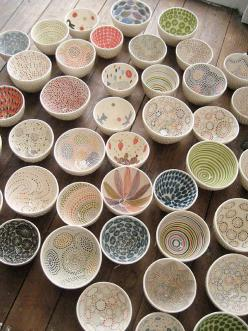 Dots (nice collection of bowls): Ceramic Bowls, Idea, Pattern, Pretty Bowls, Art, Ceramics, Design