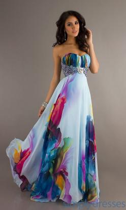Dress, Long Strapless Print Evening Gown – Simply Dresses. If you have an Alice in Wonderland wedding, your bridesmaids can be the garden flowers…: Watercolor, Style, Prom Dresses, Strapless Print