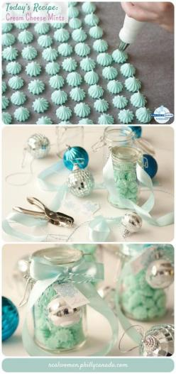 Edible Gift Idea: Cream Cheese Mints. You could make them in many colors to represent various holidays or events! Pink or red for upcoming Valentines Day!!: Cream Cheese Mints, Christmas Cookie, Christmas Food Gift, Gift Ideas, Christmas Gift, Edible Gift