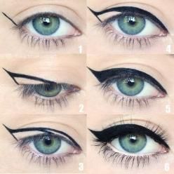 Eyelinner apply secrets, see on: http://mymakeupideas.com/how-to-apply-eyeliner-tips-and-ideas/: Makeup Tutorials, Eyeliner Tutorial, Eye Makeup, Sexy Makeup Idea, Cat Eyes, Eye Tutorial, Cateye, Eyeliner Flick, Makeup Cat Eye