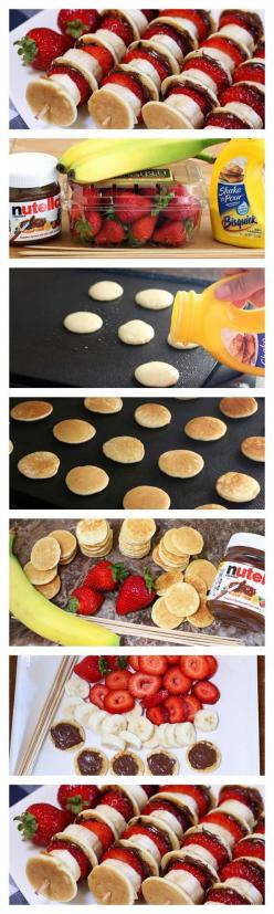 Fun and Healthy Party Food for Kids | Nutella Mini Pancake Kabobs by DIY Ready at http://diyready.com/best-kids-party-ideas/: Birthday Party Food For Kid, Diy Food, Diy Party Snack, Kids Party Food, Food Fun For Kid, Yummy Breakfast Idea, Healthy Kids Sna