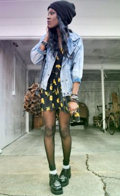 Grunge up a cute floral dress with a denim or leather jacket, sheer tights, creepers and a beanie! #grunge #fashion: Clothes, Outfit, Denim Jackets, Beanie, Leather Jackets, Floral Dresses, Grunge Style, Grunge Fashion