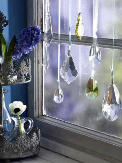 How beautiful is this!!  my windows in the kitchen r full of crystals. I have rainbows  many days!!: Decor, Ideas, Kitchen Window, Sun Catcher, Windows, Things, Window Crystals, Diy