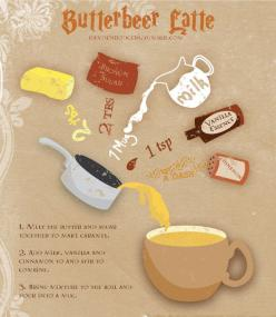 HP Butterbeer Latte ~ Pinner says: First, don't just melt the butter and sugar together, let them begin to bubble. Then add the milk, vanilla, and cinnamon with a wisk. DO NOT BOIL - milk will curdle. When done right, this is the most delicious thing