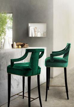 its ALL about these emerald bar stools! BAR via Veronica Miller: Interior Design, Barstools, Inspiration, Emerald, Green, Bar Chairs, Bar Stools, Furniture