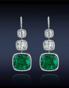 Jacob  Co. | Timepieces | Fine Jewelry | Engagement Rings....An Elegant Emerald Cushion Cut Drop Earrings Featuring: Gubelin CD Certified 27.72 Ct. Cushion Cut Colombian Emeralds (2 Stones) Surmounted by GIA Certified 8.10 Ct. Cushion Cut Diamonds (4 Ston