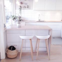 Kitchen. White. Wood. Scandinavian. Minimalist. Bar Stools. Interior Design. Decor: Small Kitchen Design, Interior Design, Small Kitchens Design, Small White Kitchen, Bar Stools, Kitchen, Barstool