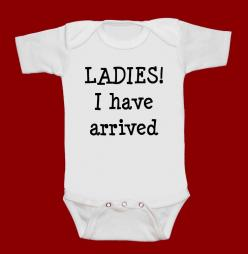 LADIES I have arrived  funny screenprint baby onesie by MeSoSmall, $15.00: Bodysuit Creeper, Funnies, One Piece, Baby Onesie, Screenprint Baby, Shower Gift, Piece Shower, Funny Screenprint, Baby Stuff